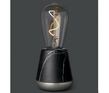 Humble ONE wireless table lamp in black marble and nickel
