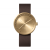 LEFF amsterdam watch Tube D38 brass with brown leather strap