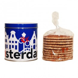 I amsterdam tin of syrup waffles, canal houses