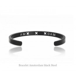 Amsterdam Bracelet black steel in sizes Large Medium and Small at shop.holland.com