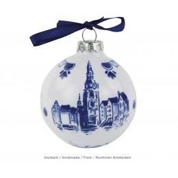 Delft blue Christmas ball Amsterdam with Munttower decoration at Holland Design & Gifts