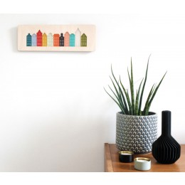 Cre8 Amsterdam canal house wall art made of plexiglass and birchwood - typical Amsterdam souvenir or gift