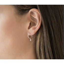 Jordaan Ear Hoops silver or gold plated - with a canal house charm