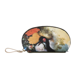 Make up pouch Crane and flowers
