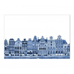 Delft Blue Placemat with Canal Houses