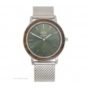 TWO-O Wooden watch Vondel – Walnut and stainless steel