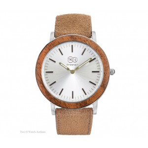 TWO-O Wooden watch Jordaan – Zebrano, stainless steel and suede