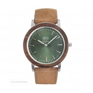 TWO-O Wooden watch Waterloo – Walnut, stainless steel and suede
