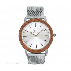TWO -O Wooden watch De Pijp – Zebrano and stainless steel