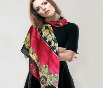 Chique en kleurrijke vierkante zijden sjaal Marten & Oopjen XL scoor je bij shop.holland.com