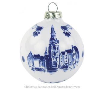 Delfts blauwe kerstballen met afbeelding Munttoren in Amsterdam bij Holland Design & Gifts