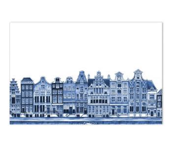 Delfts Blauw Placemat met Grachtenpanden - leuk cadeau voor sinterklaas of kerstmisanden - l