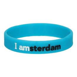 I amsterdam Siliconen armband, blauw