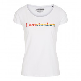 I amsterdam regenboog T-shirt dames, wit