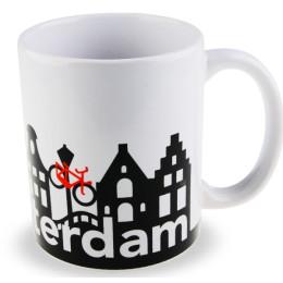 De keramische mok met grachtenpanden en fietsongeluk van I amsterdam
