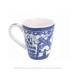 Delfts Blond beker met afbeeldingen van molen en grachtenpanden van Blond Amsterdam in blauw wit