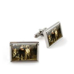 Manchetknopen Nachtwacht van Rembrandt van Rijn ter ere van het themajaar Rembrandt en de Gouden Eeuw koop je bij shop.holland.com