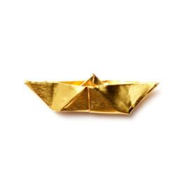 Origami boot broche goud van Turina sieraden bestel je bij shop.holland.com
