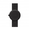 Achterkant van zwart Tube D38 horloge met zwart leren band van Piet Hein Eek voor LEFF Amsterdam