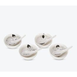 Pols Potten Teetassen Undressed aus Porzellan 4er set - humorvoll