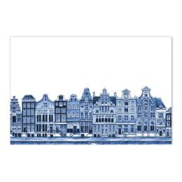 Delfter blau Tischset mit Grachtenhäuser