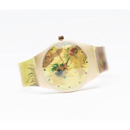 """Diese Ausführung ist mit den weltberühmten """"Sonnenblumen"""" auf Zifferblatt und Band. Etwas Besonderes an Ihrem Handgelenk oder als Geschenk."""